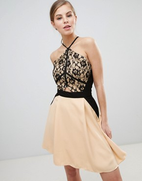 photo Lace Overlay Mini Dress by Little Mistress, color Beige - Image 1
