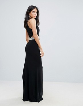 photo Plunge Maxi Dress with Cutout by Forever Unique, color Black - Image 2