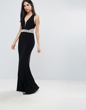 photo Plunge Maxi Dress with Cutout by Forever Unique, color Black - Image 1