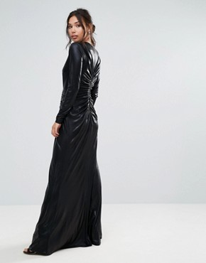 photo Plunge Maxi Dress with Waisted Detail by Forever Unique, color Black - Image 2