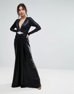 photo Plunge Maxi Dress with Waisted Detail by Forever Unique, color Black - Image 1