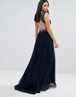 photo Pannelled Maxi Dress by Forever Unique, color Navy - Image 2