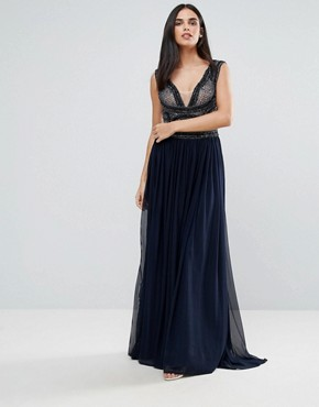 photo Pannelled Maxi Dress by Forever Unique, color Navy - Image 1