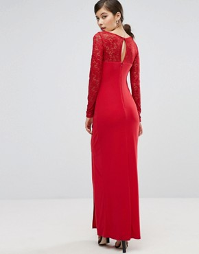 photo Riva Lace Sleeve Wrap Maxi Dress by Coast, color Ruby Red - Image 2