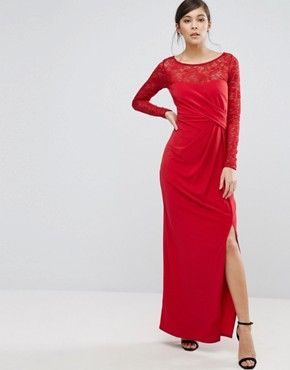 photo Riva Lace Sleeve Wrap Maxi Dress by Coast, color Ruby Red - Image 1