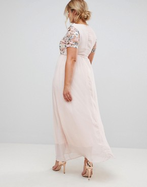photo Maxi Dress with Sequin Top by Club L Plus, color Light Pink - Image 2