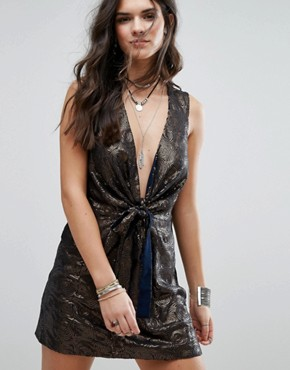 photo Paris Rock Shiny Party Dress by Free People, color Navy - Image 1