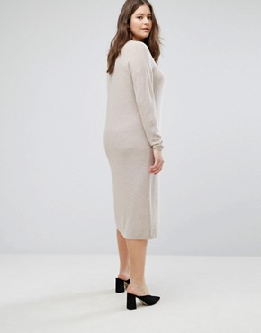 photo Knitted Dress in Super Soft Yarn by ASOS CURVE ECO, color Putty - Image 2