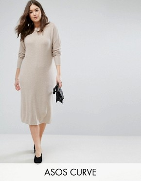 photo Knitted Dress in Super Soft Yarn by ASOS CURVE ECO, color Putty - Image 1