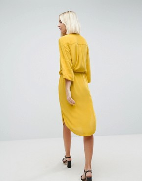 photo 3/4 Sleeve Drawstring Shirt Dress by Soaked in Luxury, color Lemon - Image 2