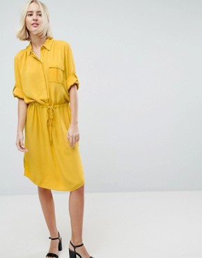 photo 3/4 Sleeve Drawstring Shirt Dress by Soaked in Luxury, color Lemon - Image 1