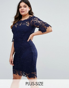 photo Off Shoulder Crochet Midi Dress with Frill Sleeve by Paper Dolls Plus, color Navy - Image 1