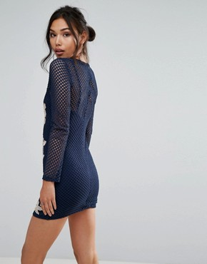 photo Fishnet Long Sleeve Bodycon Dress with Rose Embroidery by Club L, color Light Pink/Navy - Image 2