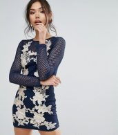 photo Fishnet Long Sleeve Bodycon Dress with Rose Embroidery by Club L, color Light Pink/Navy - Image 1