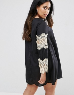 photo Swing Dress with Lace Sleeves by AX Paris Plus, color Black - Image 2