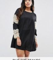 photo Swing Dress with Lace Sleeves by AX Paris Plus, color Black - Image 1