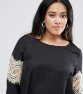 photo Swing Dress with Lace Sleeves by AX Paris Plus, color Black - Image 3