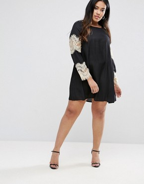 photo Swing Dress with Lace Sleeves by AX Paris Plus, color Black - Image 4