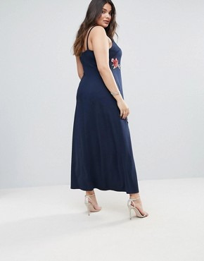 photo Cami Maxi Dress with Floral Embroidery by Club L Plus, color Navy - Image 2