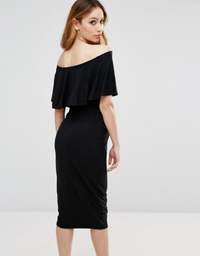 photo Midi Bardot Pencil Dress with Ruffle by ASOS Maternity, color Black - Image 2