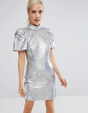 photo 80's Sleeve Sequin Iridescent Bow Back Mini Dress by ASOS PETITE, color Silver - Image 2