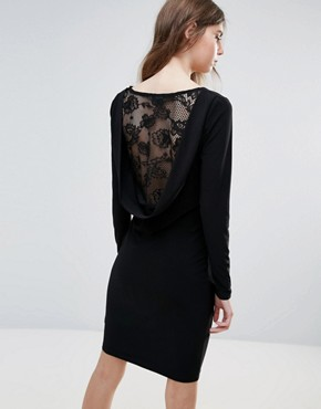 photo Lace Insert Back Bodycon Dress by Ichi, color Black - Image 1
