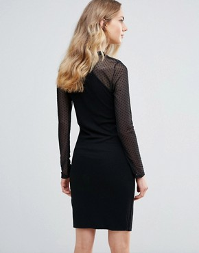 photo Bodycon Dress with Sheer Sleeves by Ichi, color Black - Image 2