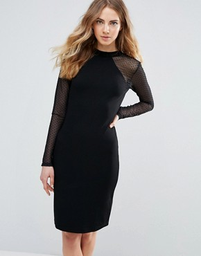 photo Bodycon Dress with Sheer Sleeves by Ichi, color Black - Image 1