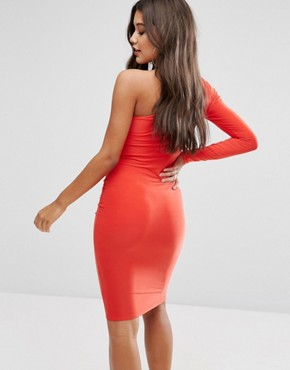 photo One Shoulder Slinky Midi Dress by Club L, color Fiery Red - Image 2