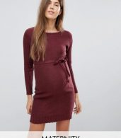 photo Knitted Dress with Waist Tie by Mama.licious, color Zinfandel - Image 1