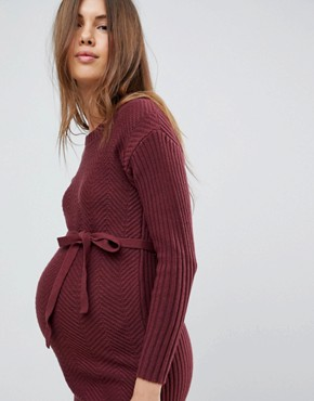 photo Knitted Dress with Waist Tie by Mama.licious, color Zinfandel - Image 3