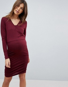photo Gathered Side Nursing Dress by Mama.licious, color Zinfandel & Black - Image 1