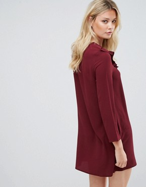 photo Frill Swing Dress by Brave Soul Tall, color Wine - Image 2