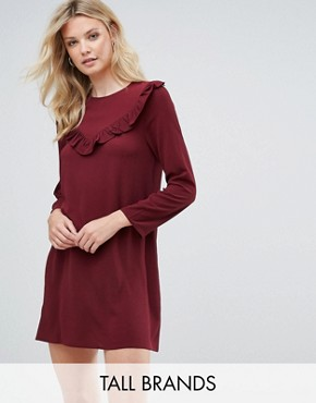 photo Frill Swing Dress by Brave Soul Tall, color Wine - Image 1