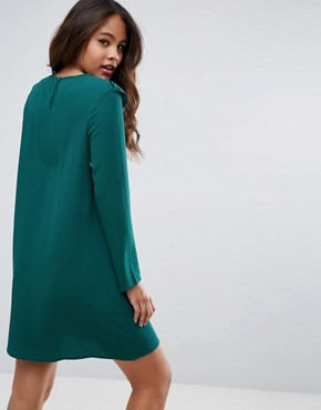 photo Frill Swing Dress by Brave Soul Tall, color Forest Green - Image 2