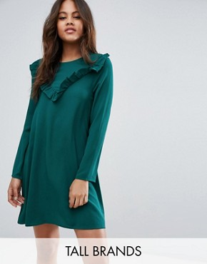 photo Frill Swing Dress by Brave Soul Tall, color Forest Green - Image 1