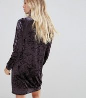 photo Velvet High Neck Dress by b.Young, color Dark Plum - Image 2