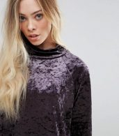 photo Velvet High Neck Dress by b.Young, color Dark Plum - Image 3
