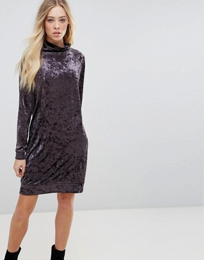 photo Velvet High Neck Dress by b.Young, color Dark Plum - Image 1