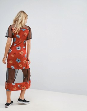 photo Ornate Midi Dress with Mesh Inserts by Minkpink, color Multi - Image 2