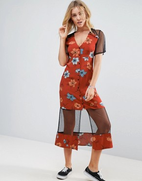 photo Ornate Midi Dress with Mesh Inserts by Minkpink, color Multi - Image 1