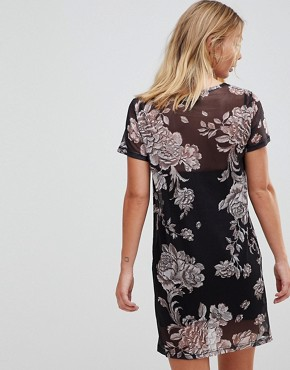 photo Metallique Floral Mesh Overlay Dress by Minkpink, color Multi - Image 2