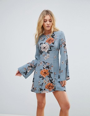 photo New Romantic Flare Sleeve Floral Print Dress by Minkpink, color Multi - Image 1