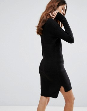 photo Jupiter V-Neck Jumper Dress by Brave Soul, color Solid Black - Image 2