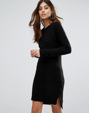 photo Jupiter V-Neck Jumper Dress by Brave Soul, color Solid Black - Image 1