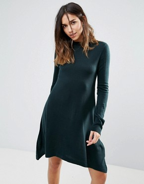 photo Swing Jumper Dress by Brave Soul, color Forest Green - Image 1