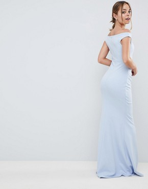 photo Bardot Fishtail Maxi Dress by City Goddess Petite, color Powder Blue - Image 2