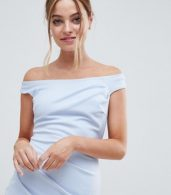 photo Bardot Fishtail Maxi Dress by City Goddess Petite, color Powder Blue - Image 3