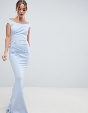 photo Bardot Fishtail Maxi Dress by City Goddess Petite, color Powder Blue - Image 4