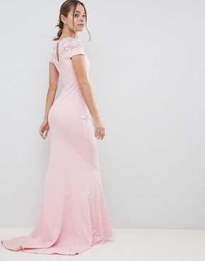 photo Fishtail Maxi Dress with Lace Detail by City Goddess Petite, color Pink - Image 2